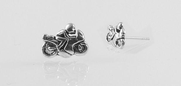 Stříbrná náušnice silniční motorka