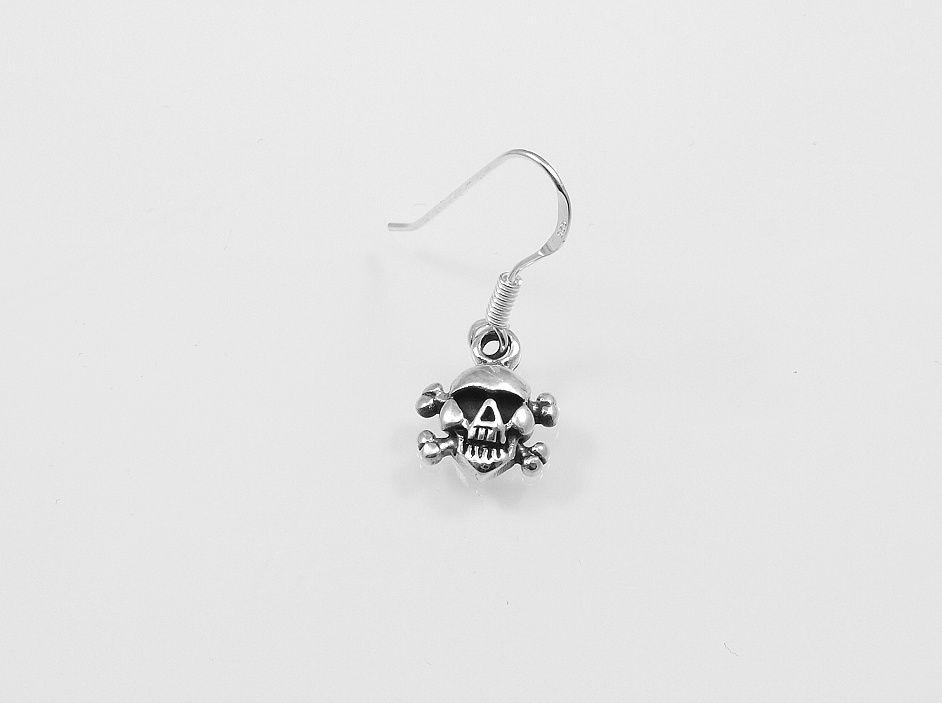 Stříbrná náušnice Lebka. AGNAU610093