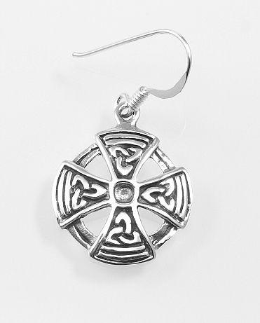 Stříbrná náušnice Keltský kříž I.