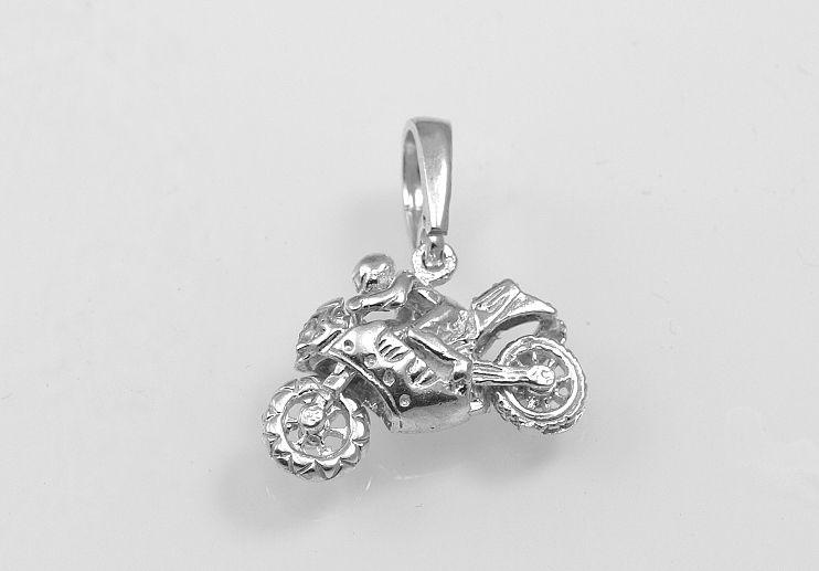 Stříbrný přívěsek, motorka