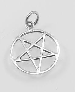 Stříbrný přívěsek, Obrácený pentagram No.017
