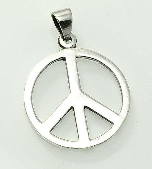 Stříbrný přívěsek, znak Hippies.  070161026