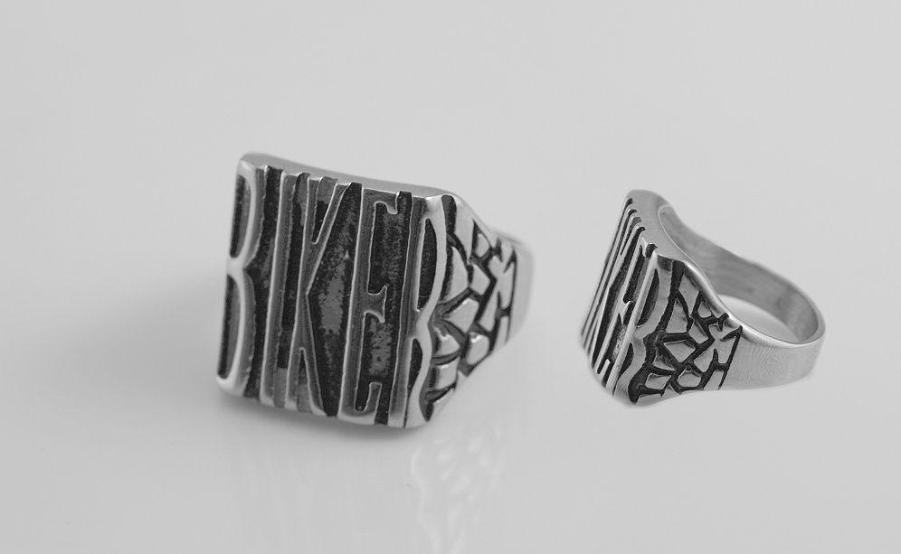 Ocelový prsten Biker