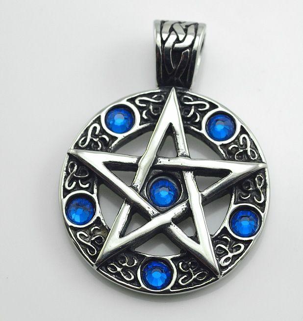 Ocelový přívěsek, Pentagram s modrými zirkony
