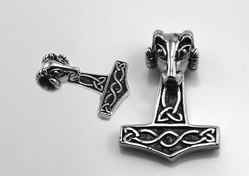Přívěsek z chirurgické oceli, Thoróvo kladivo no.011 s hlavou Berana RiverSperky