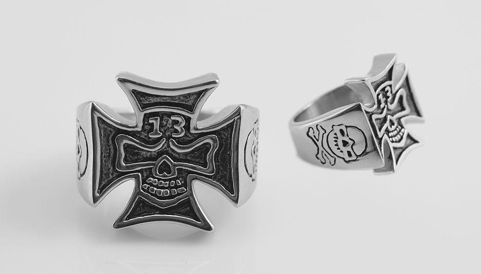 Ocelový prsten Maltézský kříž  13