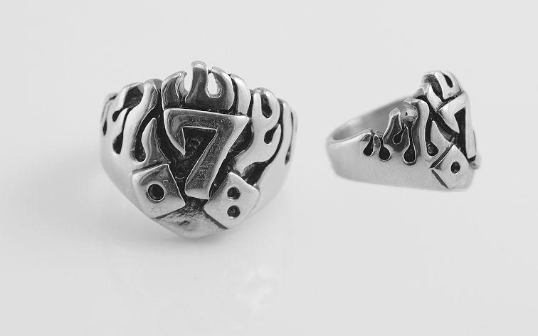 Ocelový prsten s číslem 7