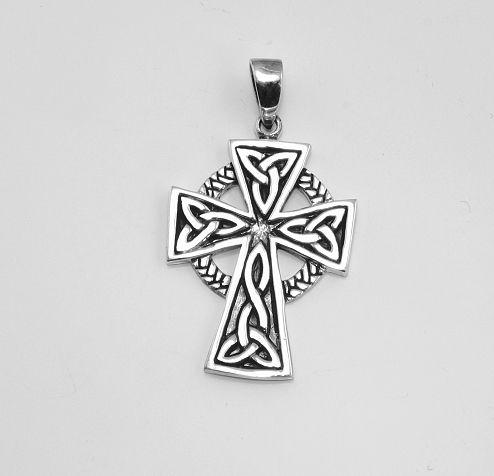 Stříbrný přívěsek Keltský kříž No.013