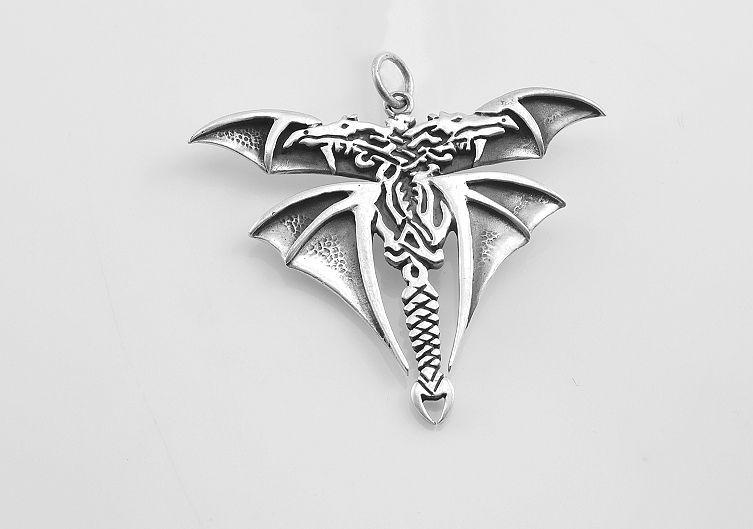 Stříbrný přívěsek Dvojhlavý drak