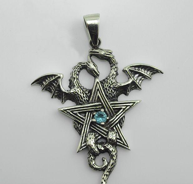 Stříbrný přívěsek , pentagrma s Drakem, modrý