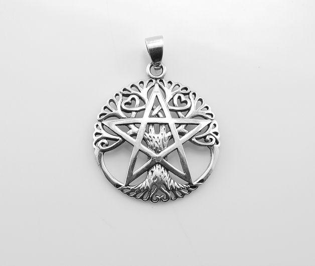ThajskoSilvermanufacture. Stříbrný přívěsek Pentagram a Strom života. AGPRIV620217