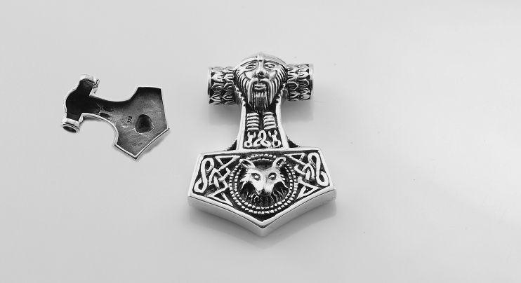 Stříbrný přívěsek Thorovo kladivo No. 024